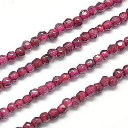 Chapelets de perles de grenat naturel, facette, rond, cerise, 2mm, Trou: 0.5mm(G-J002-20)