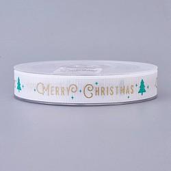 Ruban polyester grosgrain pour Noël, arbres de Noël, blanc, 16 mm; environ 100 mètres / rouleau(SRIB-P013-A03)