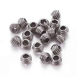 304 Stainless Steel Spring Beads, Rondelle, Stainless Steel Color, 7x5.5mm, Hole: 3.5mm(STAS-L224-006P)