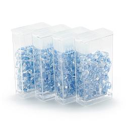 miyuki® longues perles magatama, perles de rocaille japonais, (lma 1529) cristal rayé bleu ciel étincelant, 7x4 mm, trou: 1 mm; sur 80 pcs / boîte, poids net: 10 g / boîte(SEED-R038-LMA1529)