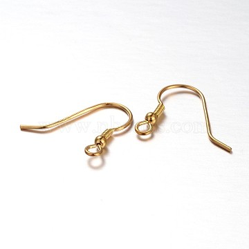 Sterling Silver Earring Hooks, Golden, 14x1.5x16mm, Hole: 1mm, Pin: 0.7mm(X-STER-E041-12A)