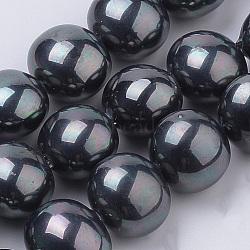 Chapelets de perles de coquille, ovale, noir, 14.5x13x12mm, trou: 1mm; environ 30 pcs/chapelet, 16.7''(PEAR-S012-57)