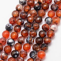 """Chapelets de perle en agate de feu naturel, rond, Grade a, facette, teints et chauffée, chocolat, 8mm, trou: 1mm; environ 47 pcs/chapelet, 15""""(X-G-K166-07F-8mm-12)"""