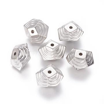CCB Plastic Beads, Polygon, Platinum, 20x22x13mm, Hole: 2.5mm(CCB-J031-28P)