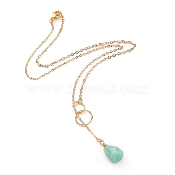 teardrop, Natural Amazonite Pendants Necklaces, with Brass Linking Rings & Cable Chains, 304 Stainless Steel Lobster Claw Clasps, 17.52~17.72 inches(44.5~45cm), 2mm(X-NJEW-JN02918-05)