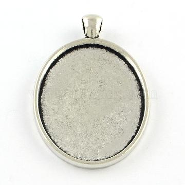 Tibetan Style Oval Alloy Big Pendant Cabochon Settings, Plain Edge Bezel Cups, Cadmium Free & Lead Free, Antique Silver, Tray: 40x30mm, 51.5x33x3mm, Hole: 7x4mm(X-TIBEP-Q045-051AS-RS)