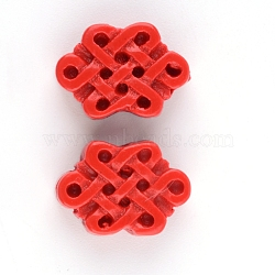 Cinnabar Beads, Chinese Knot, FireBrick, 10~11x15~16x5mm, Hole: 1.5mm(CARL-Q004-92A)