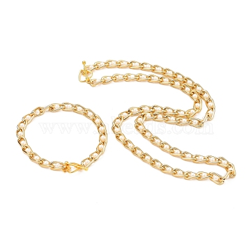 Aluminium Curb Chains Bracelets & Necklaces Sets, with ABS Plastic Imitation Pearl and Alloy Toggle Clasps, Unwelded, Golden, 7-3/4 inches(19.8cm), 17.48 inches(44.4cm)(SJEW-JS01106)