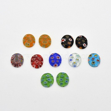 Oval Lampwork Cabochons, Mixed Color, 8x6x2mm(X-LK-F007-6x8mm-M)