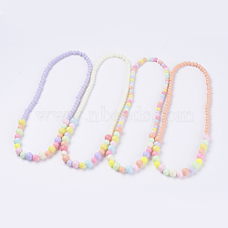 Solid Chunky Bubblegum Acrylic Ball Bead Kids Necklaces, Mixed Color, 18.1 inches(46cm)(NJEW-JN02091)