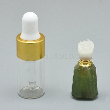 Faceted Natural Prehnite Openable Perfume Bottle Pendants, with Brass Findings and Glass Essential Oil Bottles, 30~40x14~18x11~14mm, Hole: 0.8mm; Glass Bottle Capacity: 3ml(0.101 fl. oz); Gemstone Capacity: 1ml(0.03 fl. oz)(G-E556-04K)