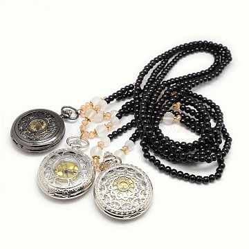 Mixed Styles Casual Style Long Black Glass Beaded Alloy Flat Round Quartz Pocket Watches Pendant Necklaces, Mixed Color, 32.3inches(WACH-M112-M02)