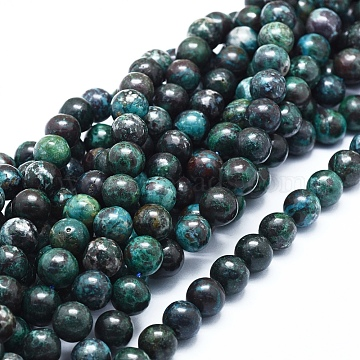 Natural Chrysocolla Azurite Beads Strands, Round, 10mm, Hole: 1mm, about 41pcs/strand, 16.14 inches(41cm)(G-D0010-08-10mm)