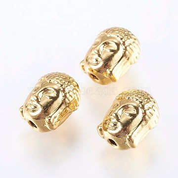 Alloy Beads, Real 18K Gold Plated, Buddha Head, Golden, 11x9x8mm, Hole: 1.5mm(X-PALLOY-F204-06G)