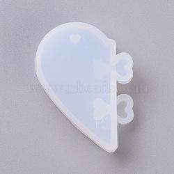 кулон силиконовые формы, формы для литья смолы, для уф-смолы, изготовление ювелирных изделий из эпоксидной смолы, сердце, очистить, 46x34x5.5 mm, отверстие: 3x4 мм и 6x7 мм; 2 шт / комплект