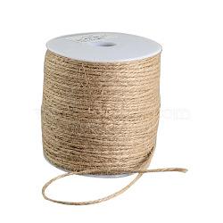 Cordon de chanvre coloré, 3 pli, pour la fabrication de bijoux, tan, 2 mm; 100 m / rouleau(OCOR-R008-2mm-010)