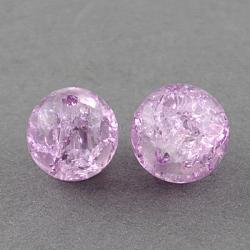 "Chapelets de perles en verre craquelé peints à la bombe, rond, Prune, 4 mm; trou: 1.1~1.3 mm; environ 200 pcs / brin, 31.4""(X-CCG-Q002-4mm-04)"