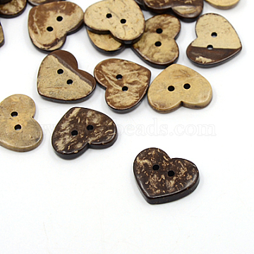 32L(20mm) CoconutBrown Heart Coconut 2-Hole Button