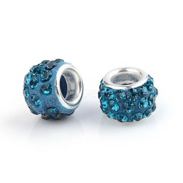 Polymer Clay Rhinestone European Beads, Large Hole Beads, Rondelle, with Silver Color Plated Brass Cores, Blue Zircon, 10~12x7~8mm, Hole: 5mm; Rhinestone: pp17((2.3~2.4mm)(CPDL-S007-08)