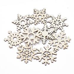 cabochons de bois, flocon de neige, blanchedalmond, 48~52x43~50x2.5 mm(WOOD-N002-07)