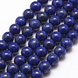 Natural Lapis Lazuli Bead Strands, Round, 6mm, Hole: 1mm; about 63pcs/strand, 15.5inches(395mm)