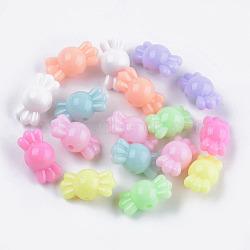 perles acryliques opaques, candy, couleur mélangée, 8.5x16.5x9 mm, trou: 1.8 mm(X-MACR-S296-83)