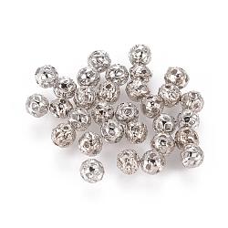 Laiton couleur platine en filigrane ballon rond séparateurs perles, 4mm, trou: environ 0.6 mm(X-EC119)
