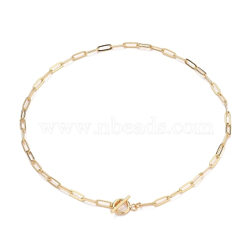 Brass Paperclip Chain Necklaces, with 304 Stainless Steel Toggle Clasps, Golden, 18.35 inches(46.6cm)(NJEW-JN03194)