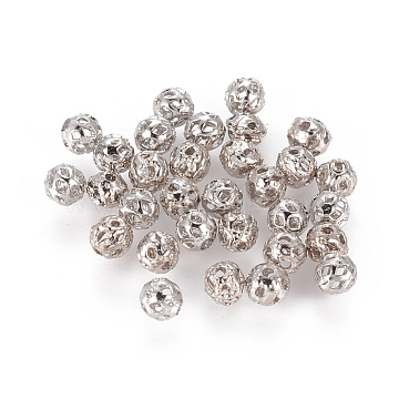 Platinum Color Brass Round Filigree Ball Spacer Beads, Filigree Ball, 4mm, hole: about 0.6mm(X-EC119)