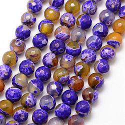 Natural Fire Agate Bead Strands, Round, Grade A, Faceted, Dyed & Heated, BlueViolet, 6mm, Hole: 1mm; about 61pcs/strand, 15inches