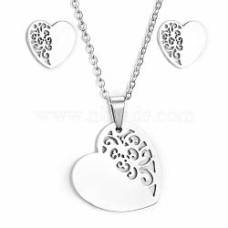 304 ensembles de bijoux en acier inoxydable, pendentifs et boucles d'oreilles, avec des chaînes de câbles et des pinces à homard, cœur, couleur inox, 17.7 (45 cm); 10x10x1 mm; broche: environ 0.8 mm(X-SJEW-D094-20P)