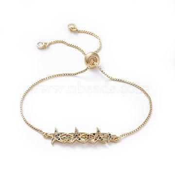 Adjustable Brass Micro Pave Cubic Zirconia Bolo Bracelets, Slider Bracelets, Box Chains, Packing Box, Star, Golden, 10-1/2 inch(26.6cm); 1mm(BJEW-JB04432-01)