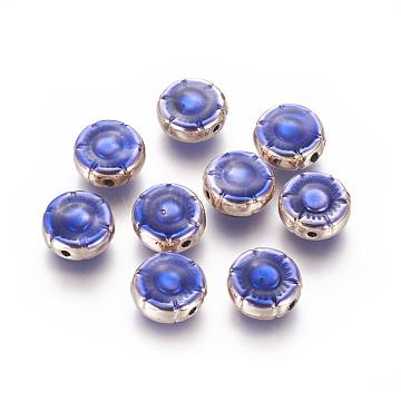Light Gold Plated Alloy Enamel Beads, Flower, Blue, 10.5x4.5mm, Hole: 1.2mm(ENAM-L019-01G-AAA)