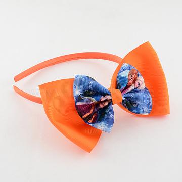 Girls' Kawaii Printed Grosgrain Ribbon Bows Hair Bands, with Plastic, Dark Orange, 105mm(OHAR-R210-03)