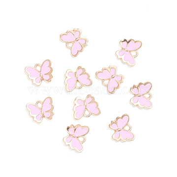 Light Gold Plated Alloy Enamel Charms, Butterfly, Pink, 10.5x13x2mm, Hole: 1.2mm(X-ENAM-WH0047-41B)