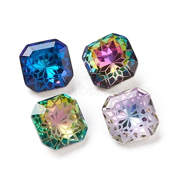 K9 Glass Rhinestone Pointed Back Cabochons, Back Plated, Faceted, Square Octagon, Flower Pattern, Mixed Color, 10x10x5.5mm(X-RGLA-P030-07A-M01)