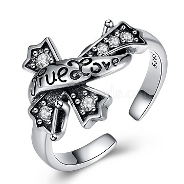 925 Sterling Silver Cuff Finger Rings, Promise Rings, Carved 925, with Word True Love, Antique Silver (RJEW-BB32820)
