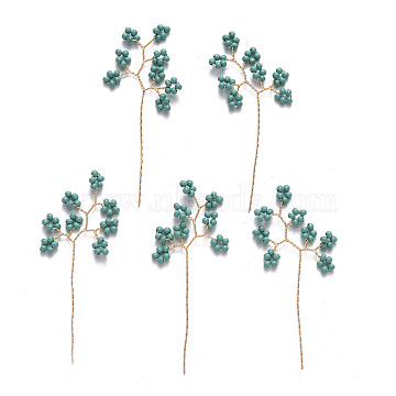 Glass Seeds Beads, Golden Brass Wire Wrapped Branch, for DIY Wire Tree Sculpture, Beaded Bonsai Tree, Teal, 47~49x22~23x2mm(FIND-R086-01A)