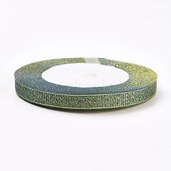 Ruban d'organza polyester, ruban métallique pailleté, Ruban scintillant, slategray, 10 mm; environ 25 mètres / rouleau(ORIB-WH0003-10)
