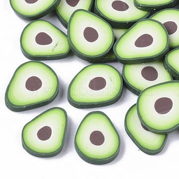 Handmade Polymer Clay Cabochons, Avocado, Light Green, 10~12x8~10x1~2mm(X-CLAY-S091-004)