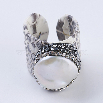 Handmade Snakeskin Leather Cuff Rings, Open Rings, with Polymer Clay Rhinestone and Pearls, Flat Round, Size 9, White, 19~20mm(RJEW-F073-B1)
