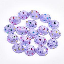 Chapeau de velours, diy artisanat décoration, pois imprimés, lilas, 48~50x17~18 mm; environ 100 PCs / sac(AJEW-T004-01G)