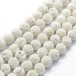 """Chapelets de perles rondes en lave naturelle, rond, blanc, 8mm, trou: 1mm; environ 49 pcs/chapelet, 15.15"""" (38.5 cm)(G-E508-04-8mm)"""