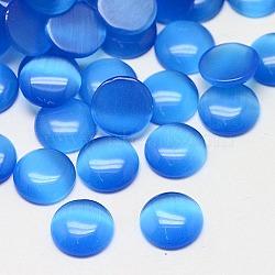 Кабошоны кошачьего глаза, полукруглый, темно-синие, 10x2~3 мм(CE-J002-10mm-09)