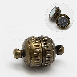 Fermoirs magnétiques en laiton, sans nickel, rond, bronze antique, 11x6mm, Trou: 1mm(X-KK-MC023-1AB-NF)