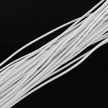 Round Elastic Cord, with Fibre Outside and Rubber Inside, for Bracelet String, DIY Face Cover Mouth Cover, White, 2.5mm, about 87.48 yards(80m)/bundle(EC-R004-2.5mm-07)