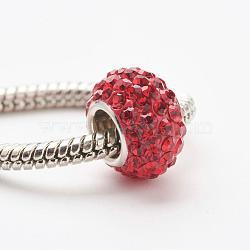 cristal autrichien perles européennes, grandes perles de trou, le noyau sterling silver, rondelle, 227 _light siam, 11~12x7.5 mm, trou: 4.5 mm(STER-E049-E)