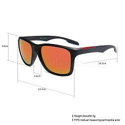 унисекс наружные солнцезащитные очки, пластиковые рамы и смоляные линзы, прямоугольник, черный, красный, 14.4x5.2 cm(SG-BB27709-3)