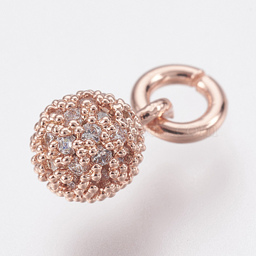 Rose Gold Round Brass+Cubic Zirconia Charms