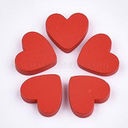 cabochons en bois peint, cœur, rouge, 19x21x4.5 mm(X-WOOD-Q040-005A)